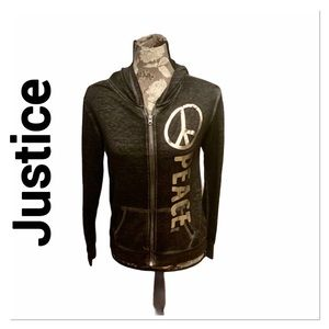 JUSTICE Black & Silver Peace Sign Hoodie 14